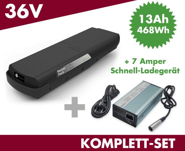 SET E-BIKE VISION Ersatzakku Akku Power Pack 13 ah 468 Wh 36V für Bosch Classic Gepäckträger mit Ladegerät