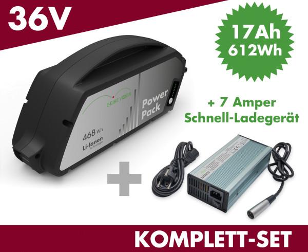 SET E-BIKE VISION Ersatzakku Akku Power Pack 17 Ah 612 Wh 36V für Bosch Classic Unterrohr mit Ladegerät