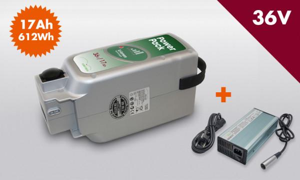 E-BIKE VISION Power Pack Ersatzakku Akku für Panasonic Antrieb 36V 17Ah 612Wh