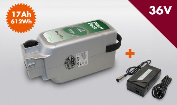 E-BIKE VISION Power Pack Ersatzakku Akku für Panasonic Antrieb 36V 17Ah 612 Wh inkl Premium Ladegerät