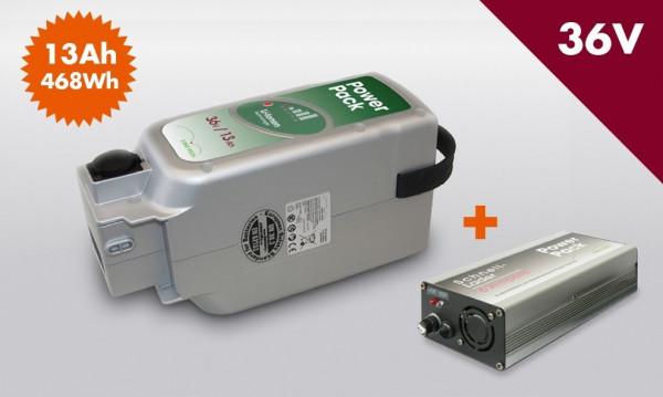 E-BIKE VISION Power Pack Ersatzakku Akku für Panasonic Antrieb 36V 13Ah 468 Wh inkl Premium Ladegerät